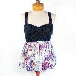 Studio Y - black white floral peplum strappy top